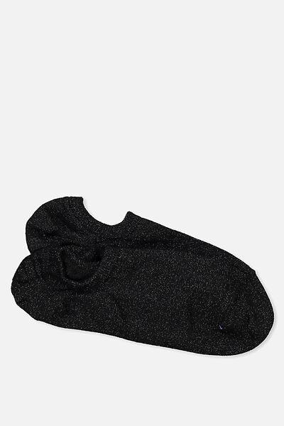 Sports Invisi Sock, BLACK SPARKLE