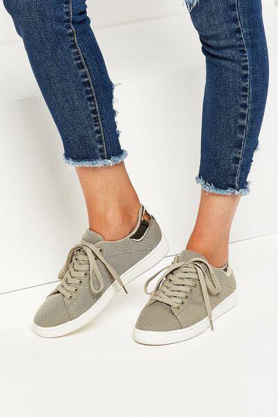 Cathryn Knit Sneaker, KHAKI MESH