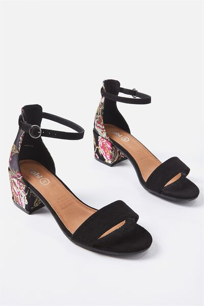 Ivy Low Block Heel, BLACK BROCADE