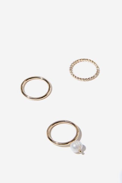 Bronte P&T Ring Set, GOLD/PEARL