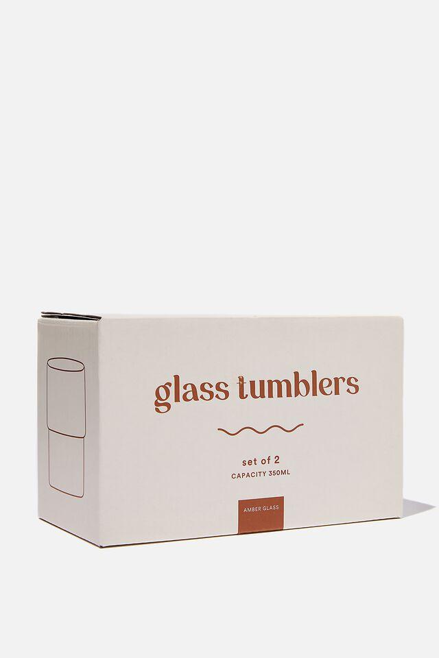 Glass Tumbler 2Pk, AMBER