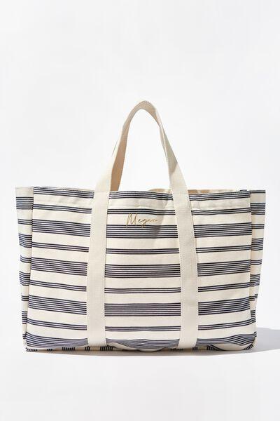 Personalised Bondi Beach Bag Fn, NAVY STRIPE