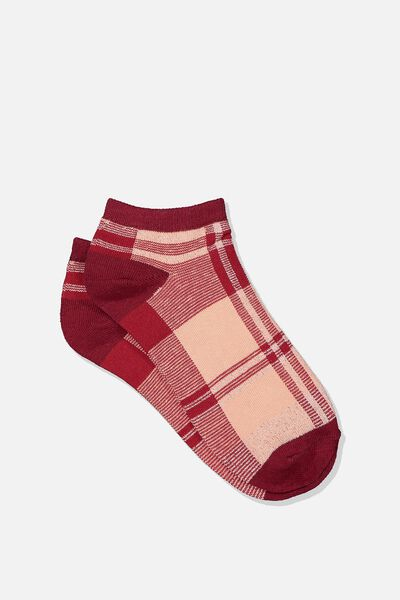 Get Shorty Ankle Sock, RED LUCY CHECK