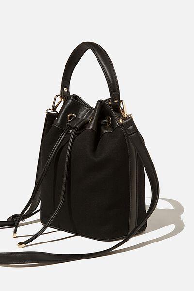 Bella Bucket Bag, BLACK/BLACK CANVAS
