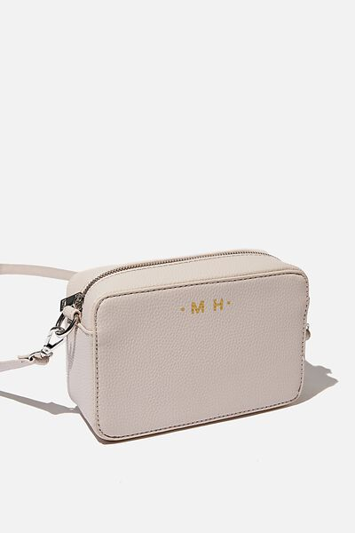 Personalised Stevie Boxy Cross Body Bag, STONE