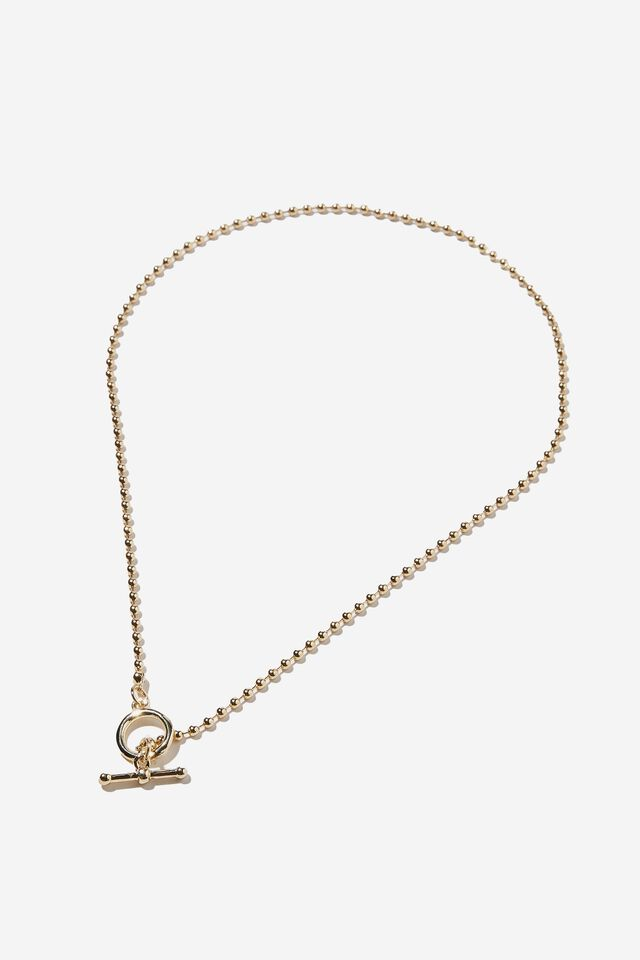Premium Pendant Necklace, GOLD PLATED BALL CHAIN WITH FOB