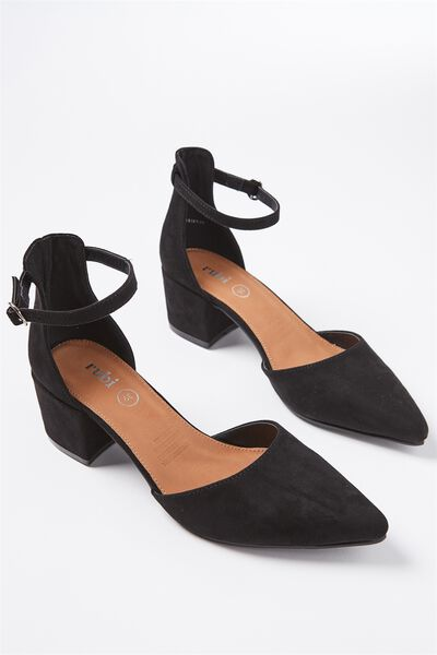 Cardiff Low Block Heel, BLACK MICRO