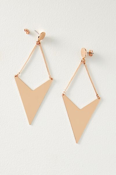 Geo Arrow Metal Earring, ROSE GOLD