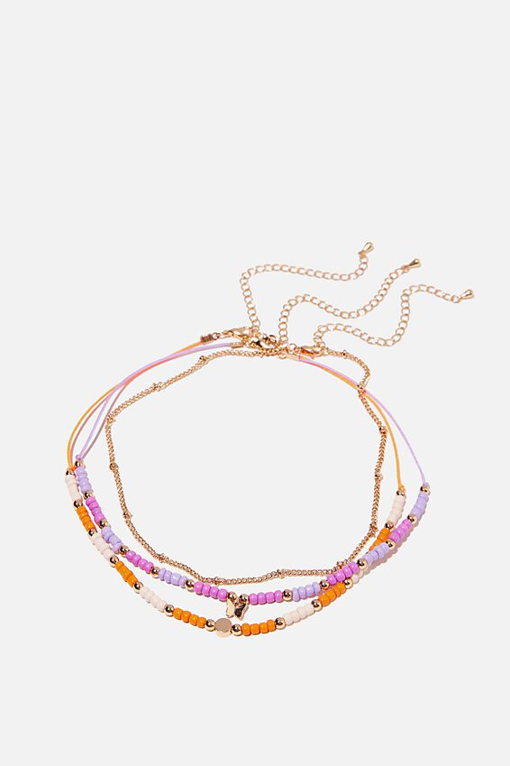 Holiday Beaded 3Pk Necklace Set, LILAC/ ORANGE