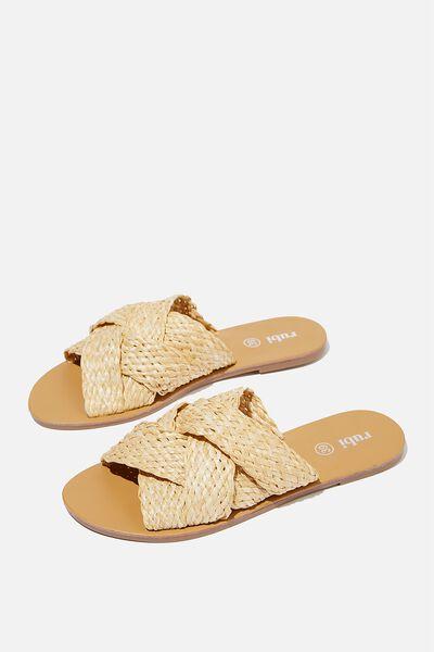 Aggy Woven Slide Sandal, SAND RAFFIA TAPE