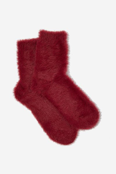 Fluffy Bed Sock, RASPBERRY CRUSH