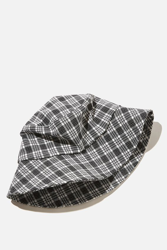 Bianca Bucket Hat, BLACK AND WHITE CHECK