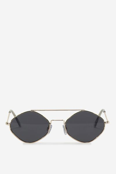 Hexy Top Bar Sunglasses, BLACK/GOLD