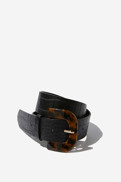 Toni Tort Buckle Belt, BLACK CROC PRINT