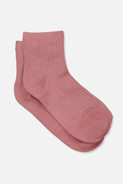 Quarter Crew Sock, ASH ROSE