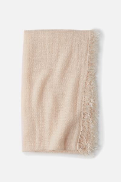 Cosy Fringe Snood, BLUSH CHALK