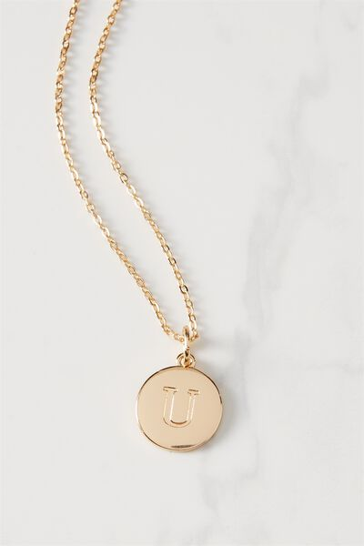 Letter Flat Pendant Necklace, GOLD - U