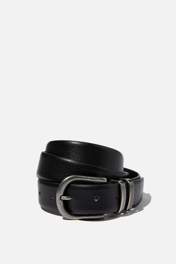 Britt Buckle Belt, BLACK SILVER BRUSHED