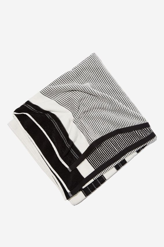 Bondi Rectangle Towel, BLACK POOLSIDE STRIPE