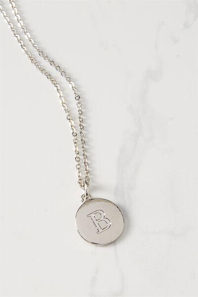 Letter Flat Pendant Necklace, SILVER - B