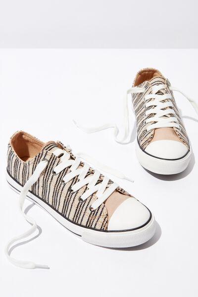 Jodi Low Rise Sneaker 1, METALLIC WOVEN STRIPE