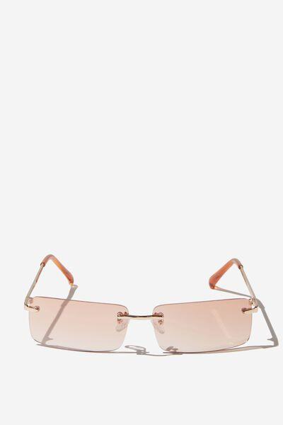 Rimless Square Sunglasses, GOLD