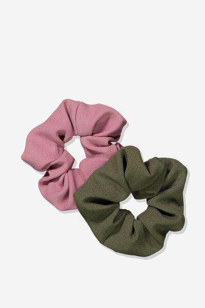 2Pk Scrunchie, KHAKI/DECO ROSE