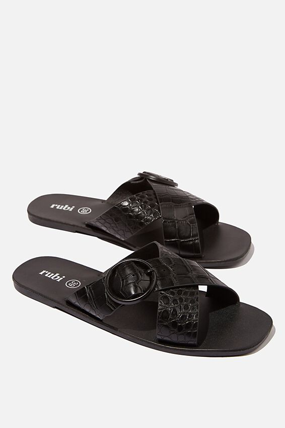 Freya Xover Buckle Slide, BLACK CROC PU