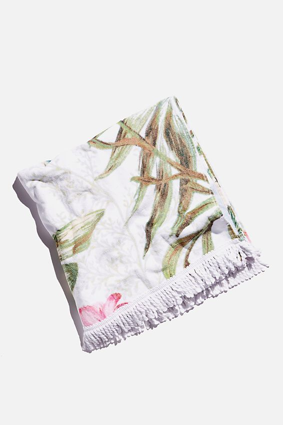 Bondi Rectangle Towel, WHITE TROPICAL
