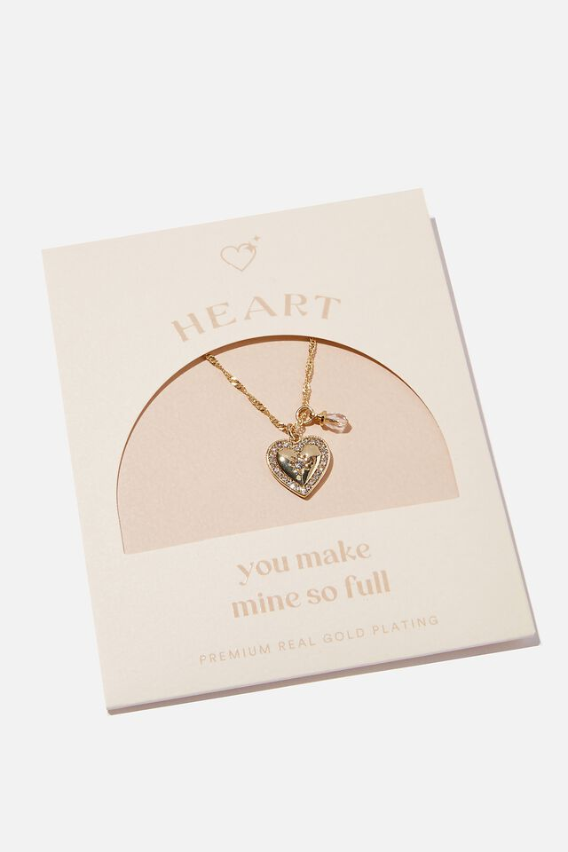 Premium Treasures Necklace, GOLD PLATED LOVE HEART