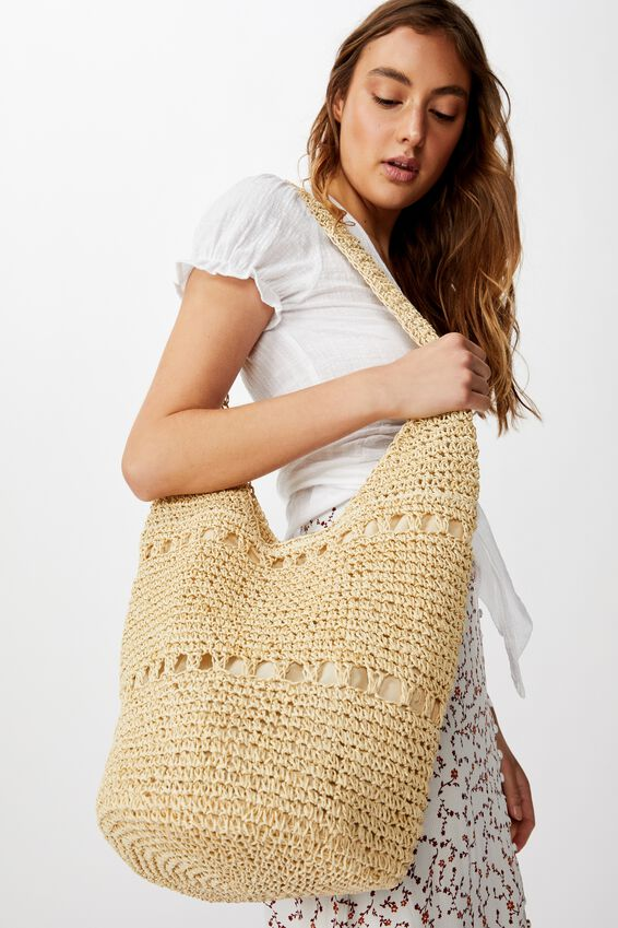Textured Slouch Bag, WHITE SAND