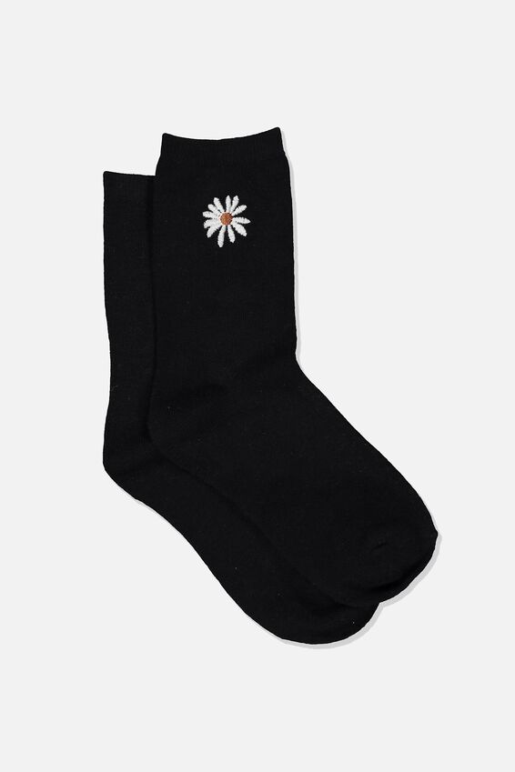 Embroidered Crew Sock, BLACK DAISY
