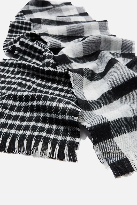 Olivia Oversized Scarf, BLACK AND WHITE CHECK