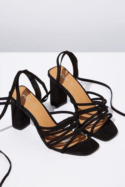 Tahlia Strappy Heel, BLACK MICRO