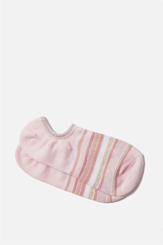 Sports Low Cut Sock, BLUSH SPARKLE STRIPE