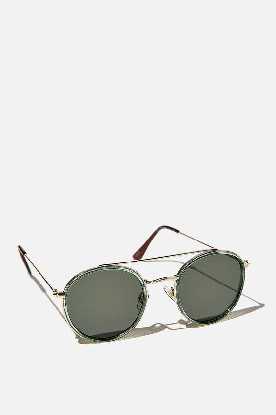 Demi Top Bar Metal Sunglasses, FORREST GREEN