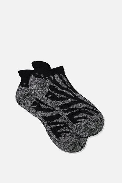 High Impact Ankle Sock, BLACK/ZEBRA