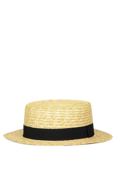 Henley Boater Hat, NATURAL