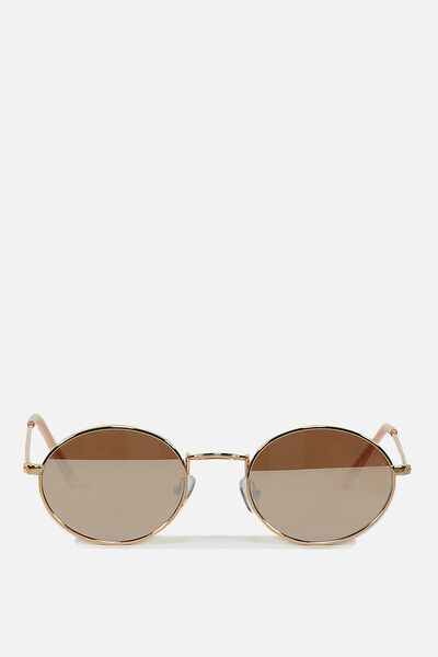 Paigey Oval Metal Sunglasses, ROSE GOLD