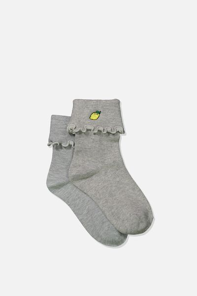 Embroidered Flirty Frill Sock, GREY MARLE/LEMON