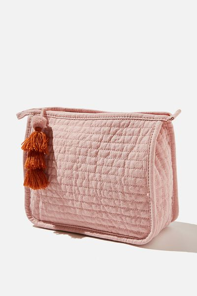 Quilted Cosmetic Pouch, PINK