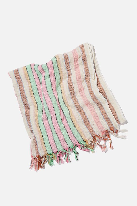 Coogee Lightweight Towel, SPRING GREEN RETRO STRIPE