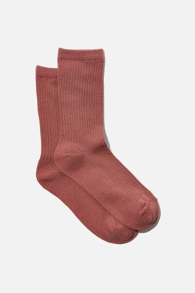 Everyday Rib Sock, ASH ROSE
