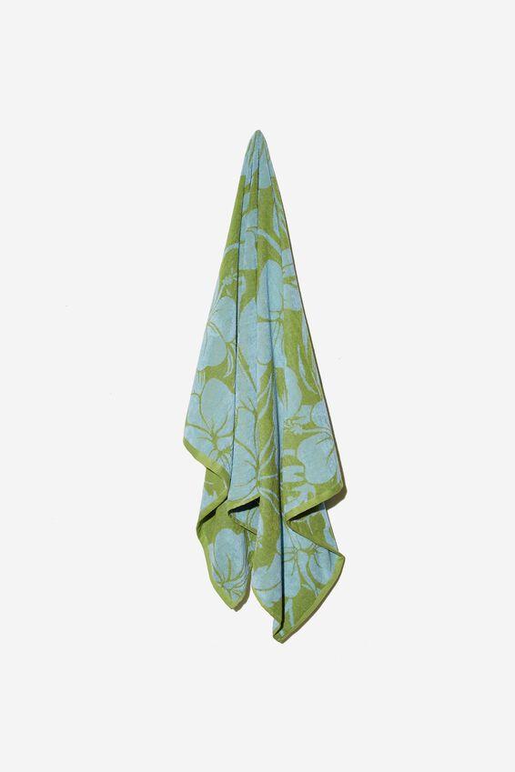 Bondi Rectangle Towel, BLUE AND GREEN RETRO TROPICAL