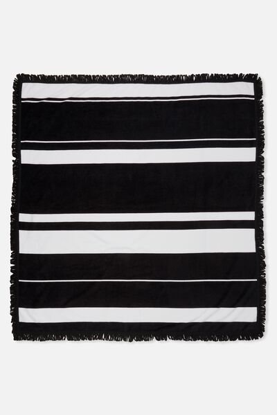 Double Up Boyfriend Towel, BLACK/WHITE STRIPE