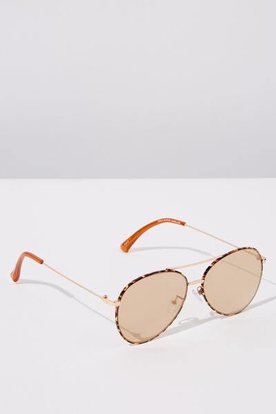 Dana Aviator Sunglasses, GOLD TORT