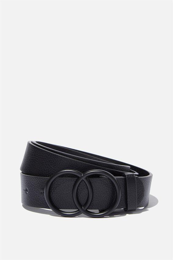 Double Circle Belt, BLACK MATTE BUCKLE