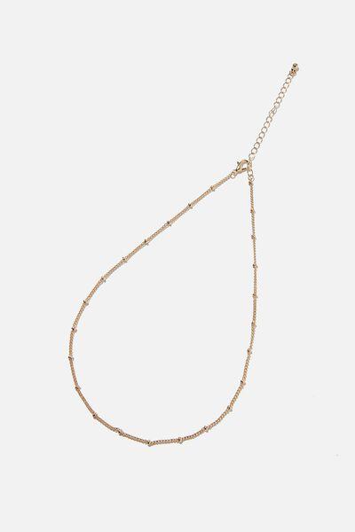 Treasures Single Chain Necklace, GOLD SATELLITE CHAIN