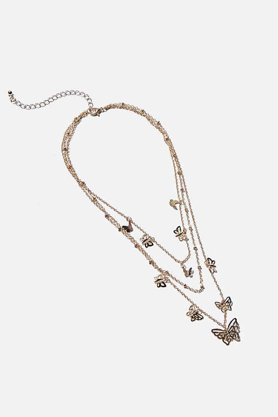 Luxe Layers Layered Butterfly Necklace, GOLD