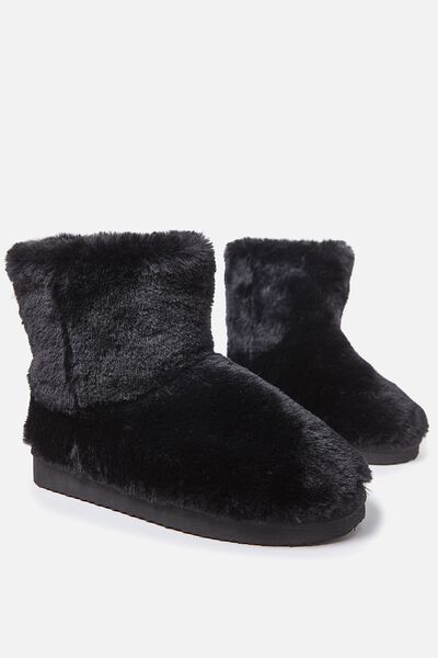 Short Home Boot, BLACK FAUX FUR